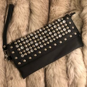 Handbags - BRAND NEW leather studded clutch